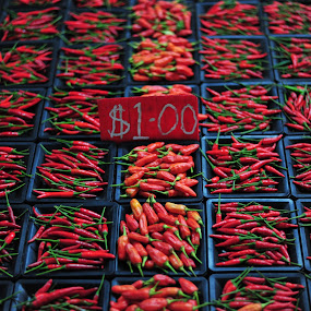 chillies by Mohamad Sa'at Haji Mokim - Food & Drink Ingredients ( red, price, chillies, vegetables, packet )