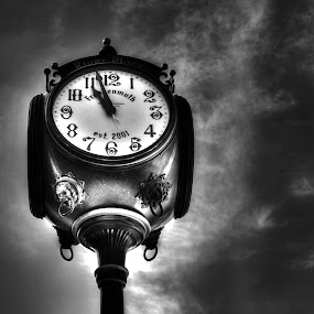 by Flora Ehrlich - Products & Objects Signs ( clouds, abstract, copy space, clock, black and white, clock tower, gray sky, michigan, new, tower, time, sky, background, frankenmuth )