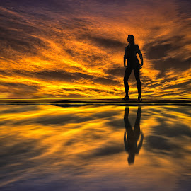 Silhouette 002 - Girl on the Lake at Sunset by IP Maesstro - People Street & Candids ( water, reflection, sexy, girl, ip maesstro, hdr, teen, silhouette, sunset, lake, sunrise, man )