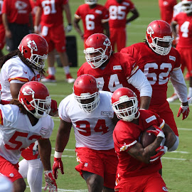 Running away by Nathan Mannis - Sports & Fitness American and Canadian football ( football, kansas city, chiefs, training camp, kc chiefs )