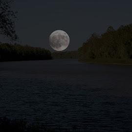 SuperMoon by Gary Enloe - Digital Art Things ( water, moon, supermoon, river, island )