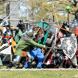 Bridge Battle by Brian Box - Sports & Fitness Other Sports ( sca, battle, armor, fighting, shield, medieval )