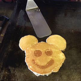 Happy Mickey Pancake by Gary Wahle - Instagram & Mobile iPhone ( mickey mouse, griddle, pancakes, utensils,  )