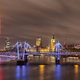 Thames at Night by George Johnson - City,  Street & Park  Night ( lights, uk, england, thames, london, dark, mood, night, cityscape, britain, river, city )