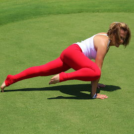 Yoga Instructor Posing by Laurence (Sam) Warriner - Sports & Fitness Fitness ( form, strength, yoga,  )