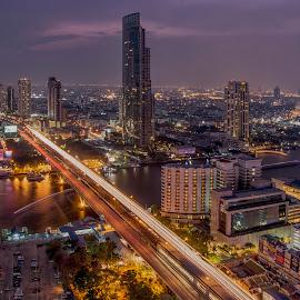 Bangkok night life by Waraphorn Aphai - City,  Street & Park  Skylines ( bangkok, night photography, long exposure, night shot )