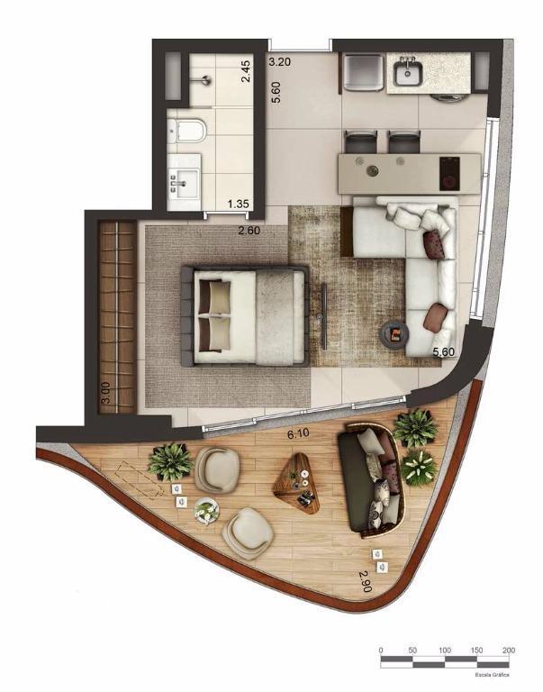 Apto 46 m² Layout 2