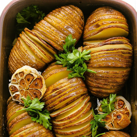 Hasselback Potatoes with Lemon and Roasted Garlic.