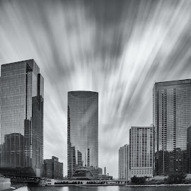Fast Forward by Vinod Kalathil - City,  Street & Park  Skylines ( clouds, building, monochrome, black and white, long exposure, chicago, glass and steel, architecture, river )