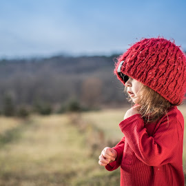 Ready to RUNNNNNN by Becky Adolf - Babies & Children Toddlers ( red, girl, outdoors, toddler, hat )
