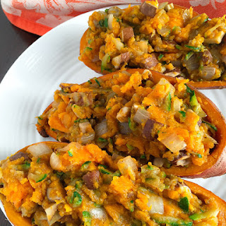 Loaded Sweet Potatoes with Shredded Zucchini, Mushrooms, and Onion