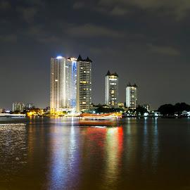 Bangkok River At night by Gurung Purna - City,  Street & Park  Skylines ( colour, bangkok, reflection, night, river )
