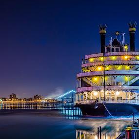 All Aboard by Hamish Carpenter - City,  Street & Park  Night ( puremittigan, windsor, riverfront, riverwalk, puremichigan, nightphotography, bluehour, riverboat, princessriverboat, ambassadorbridge, thed, detroit, downtown )