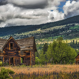 Home on the Homestead by Garry Dosa - Landscapes Prairies, Meadows & Fields ( old, houses, nature, outdoors, derelict, landscape, holes,  )