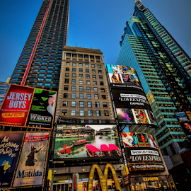 New York Street Scene by Joseph Law - City,  Street & Park  Street Scenes ( signs, blue sky, traffic, peoples, times square, buildings, new york )