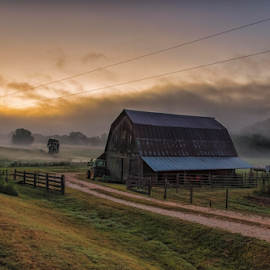Early Morning by Michael Buffington - Landscapes Prairies, Meadows & Fields ( valley, landscape, rural, lane, farm, environment, sky, nature, barn, fog, sunrise, natural, mist, fields,  )