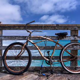 Rusty by Richard Reames - Transportation Bicycles ( clouds, waves, beautiful, image, sea, ocean, beach, rusty, photo, photography, bicycle, bike, blue, photographer, pier, rust )
