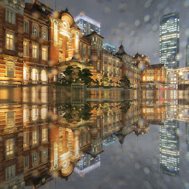Heavy Rain at Tokyo Station  by Nyoman Sundra - City,  Street & Park  Historic Districts ( japan, station, tokyo, night, historic district, city )