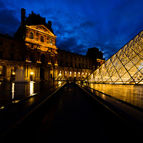 Louvre at Twilight by Dee Zunker - Landscapes Travel ( paris, louvre, night, lights )