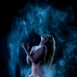blue powder by Paul Phull - Nudes & Boudoir Artistic Nude ( body, blonde, sexy, nude, lighting, blue, powder )