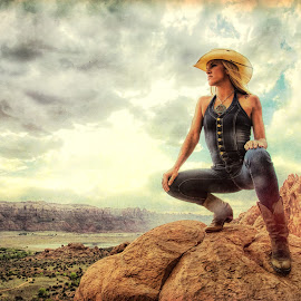 by Kelley Hurwitz Ahr - Digital Art People ( moab, moab revisited, model, blonde, may 2014, utah, vista, denim, lacie to the rescue, candace )