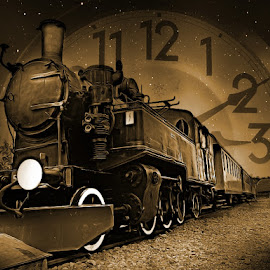 3:10 to Yuma  by Ksenija Glavak - Digital Art Things ( sepia, time, sky, clock, stars, art, train,  )