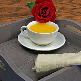 A tray with Tea and a red Rose. by Dipali S - Artistic Objects Other Objects ( plant, detail, single, seasonal, bright, botany, colorful, beauty, buds, botanical, tea, spring, pretty, blossom, close, love, macro, nature, fresh, pink, head, flower, closeup, blooming, flora, decoration, beautiful, bloom, rose, season, color, rosa, tray, summer, freshness, herbal, natural, garden, floral, napkin, growth )