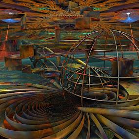 A Planet In Turmoil by Rick Eskridge - Illustration Sci Fi & Fantasy ( jwildfire, sci-fi, mb3d, fractal, twisted brush )