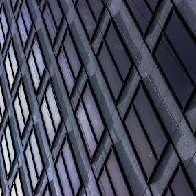 by Eric Hanson - Buildings & Architecture Architectural Detail ( cool, reflection, pattern, purple, sunset, diamond, windows, geometry )