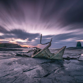 Saltwick Bay Long Exposure by Darren Whiteley - Landscapes Beaches ( clouds, ship, wreck, sunset, long exposure, seascape )