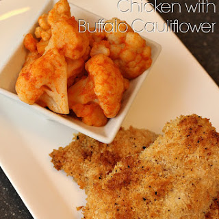 Baked Panko Crusted Chicken with Buffalo Cauliflower