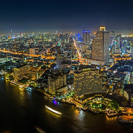 Bangkok river view by Nattapong Pianchalangek - City,  Street & Park  Skylines ( twilight, night, light, city, river, city at night, street at night, park at night, nightlife, night life, nighttime in the city )
