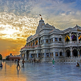 Prem Mandir, Vrindavan by Amit Aggarwal - Buildings & Architecture Places of Worship ( clouds, hindu, marble, vrindavan, krishna, white, prem mandir,  )