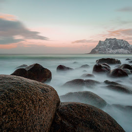 Sunset colours by Geir Christensen - Landscapes Waterscapes ( clouds, water, mountain, uttakleiv, waterscape, waves, stone, sea, ocean, rock, seascape, beach, landscape, big stopper, coast, norway, sunset, snow, cloud, long exposure, rocks, lofoten, velvet )