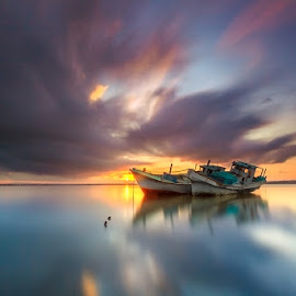 Beautiful Morning by Choky Ochtavian Watulingas - Landscapes Travel ( clouds, water, seashore, shipwreck, seascapes, clouds and sea, reflections, long exposure, sunrise, skies )