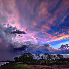 Storm's Backside by Derrill Grabenstein - Landscapes Cloud Formations