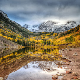 Fog over Maroon Bells by Michael Land - Landscapes Mountains & Hills ( mountain, autumn, foliage, fall, colorado, lake, maroon bells, leaves, aspen )