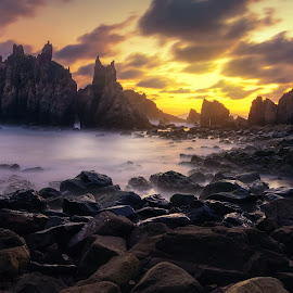 Sunset with the Devils by Jimmy Kohar - Landscapes Caves & Formations