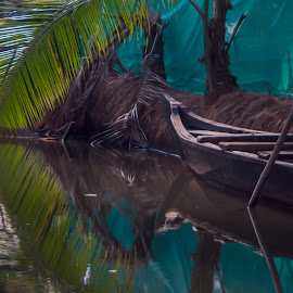 Keralan canoe by Ruth Holt - Digital Art Things ( munroe island, lake n river resort, kerala, south india, canoe, backwaters )