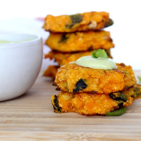 Roasted Poblano and Goat Cheese Sweet Potato Cakes with Poblano Avocado Crema
