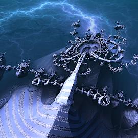 The dark night sky riddle by Bas van Gisbergen - Illustration Sci Fi & Fantasy ( bas van gisbergen, onweer, lightning, 3d fractalart, blue, 3d, tabasco_raremaster, art, bliksem, fractal, blauw, 3d fractal )