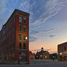 Pawhuska Sunset by Stephanie Ostrander Bishop - Buildings & Architecture Public & Historical ( small town, blue hour, sunset, buildings, architectural, cityscape, historical )