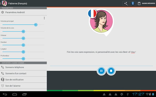 Fabienne voice (French) - screenshot