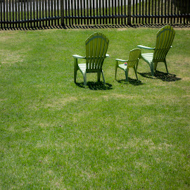 3 Chairs in the sun by David Stone - Artistic Objects Furniture ( fence, grass, chairs, wooden fence, square image, lawn chairs, shadows,  )