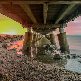 Sunrise under the jetty by Taz Graham - Novices Only Landscapes ( clouds, jetty, sunrise, skies )