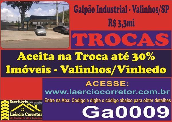 Galpão Industrial em Valinhos SP, 2.211m² Terreno e 1500m² Construção, R$ 3,3mi - Aceita até 30% de Imóveis em Valinhos e região