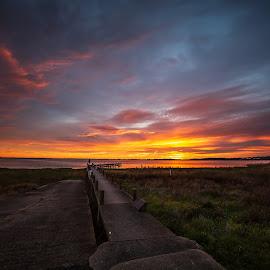 Sunrise Lake Colac  by Murray howard-Brooks - Landscapes Sunsets & Sunrises