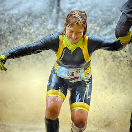 With A Little Help by Marco Bertamé - Sports & Fitness Other Sports ( differdange, splash, splatter, 1596, blond, number, yellow, running, luxembourg, help, strong, woman, strongmanrun )