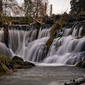 Upper Tumwater Falls South by Scott Wood - Landscapes Waterscapes ( winter, sky, tree, nature, park, logs, ice, falls, waterfall, tumwater, recreation, olympia, river )