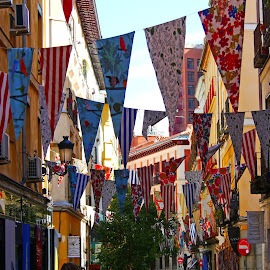 Street Decorations by Joatan Berbel - City,  Street & Park  Street Scenes ( decorations, madrid, street photography, colorful, street scenes )